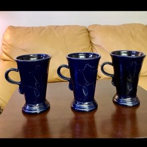 Fiestaware Rare Cobalt Pedestal Mugs - Set of 3